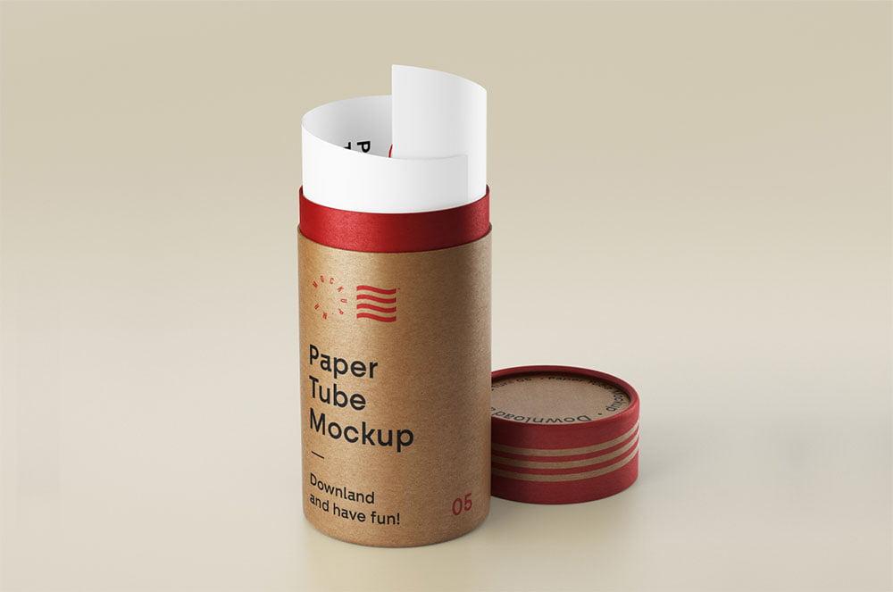 Free Open Paper Tube Mockup