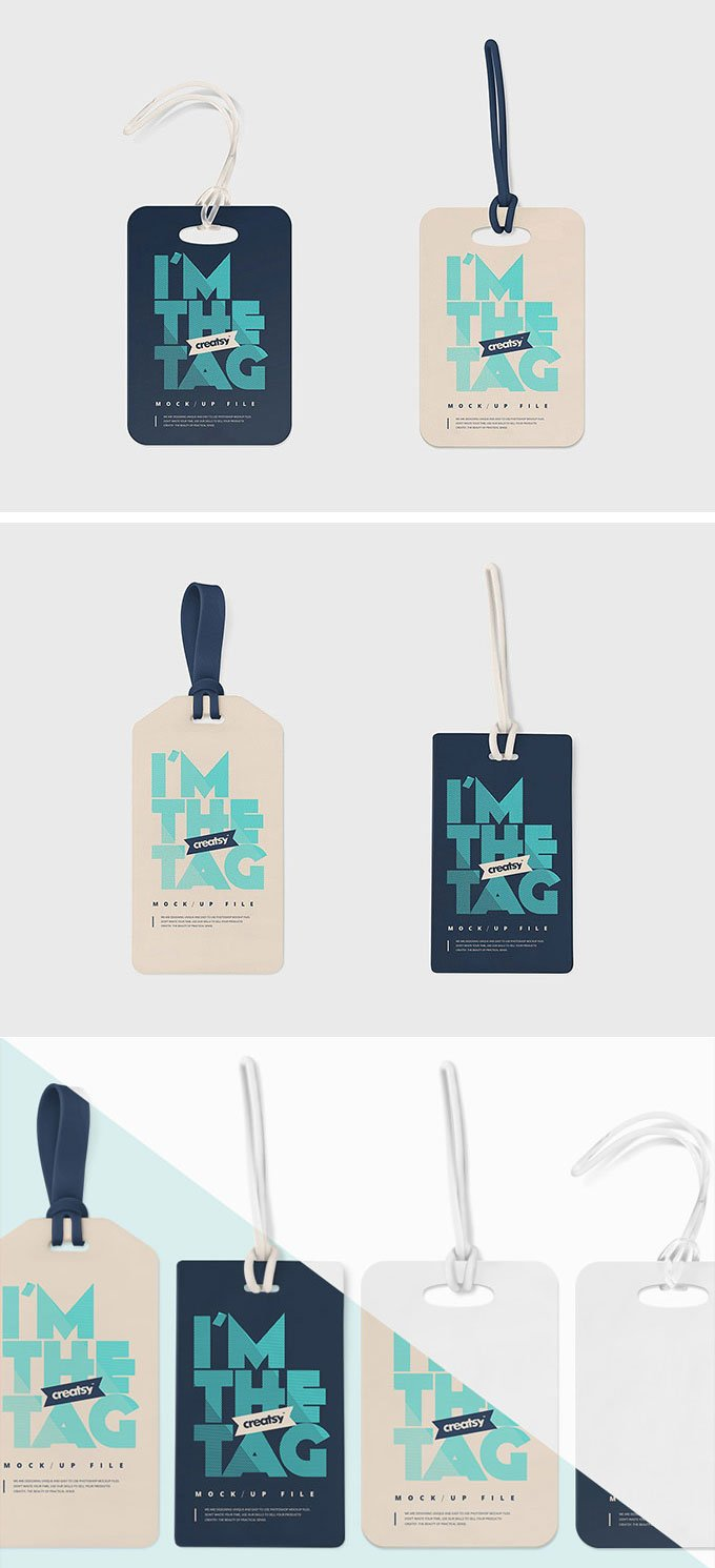 Free Luggage Tag Mockup