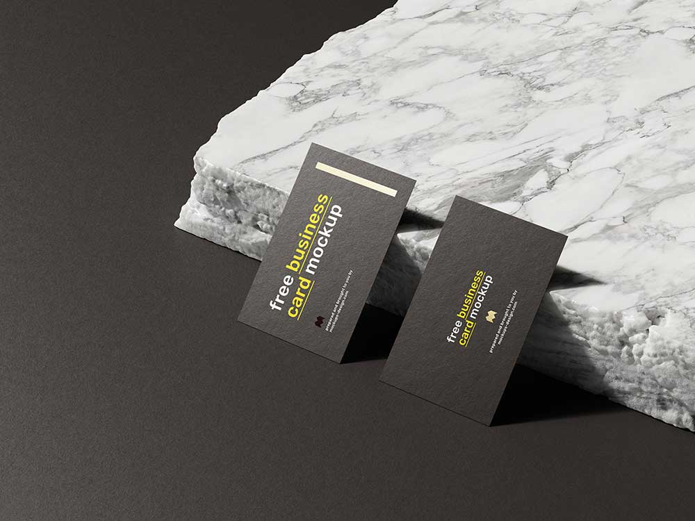 Free Marble Stone Business Card Mockup