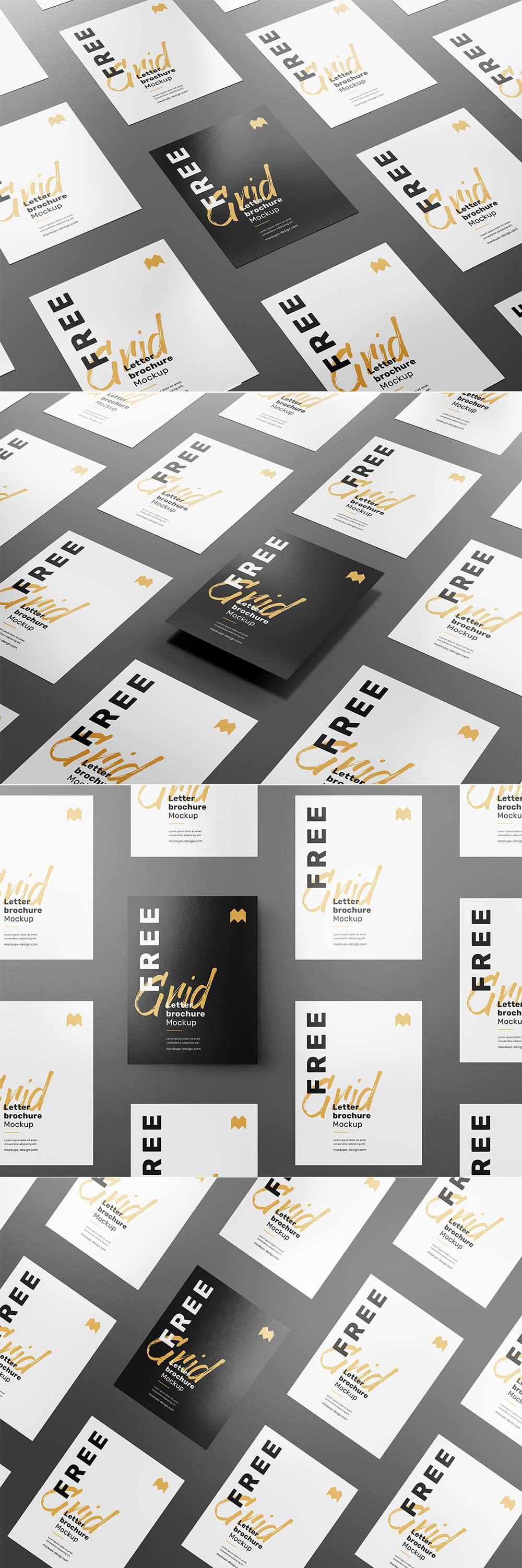 Free Grid Letter Brochure Mockup