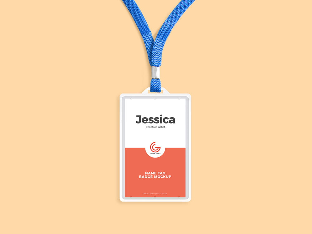 Free Name Tag Badge Mockup