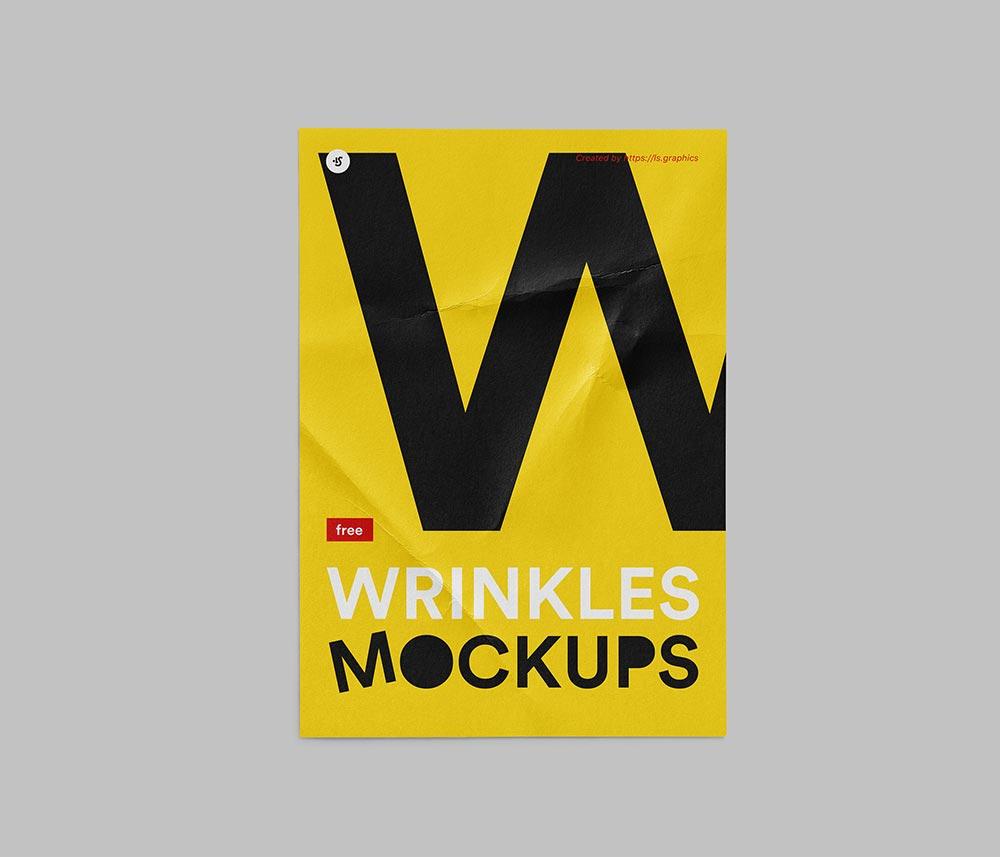 Free Wrinkled Poster Mockup