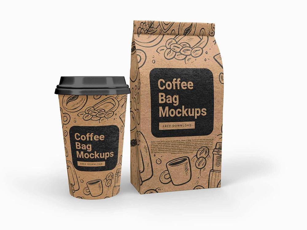 Free Cup & Coffee Bag Mockup