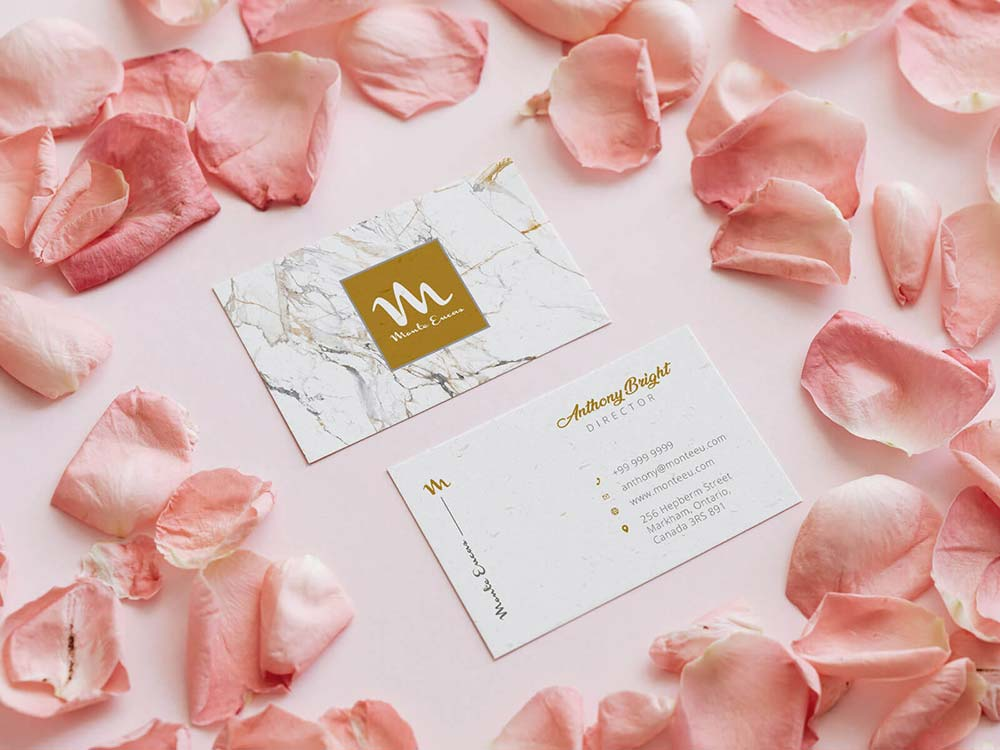 Free Pink Business Card Mockup