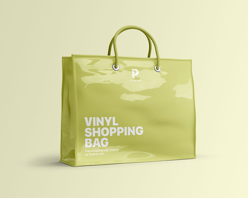 Free Vinyl Shopping Bag Mockup