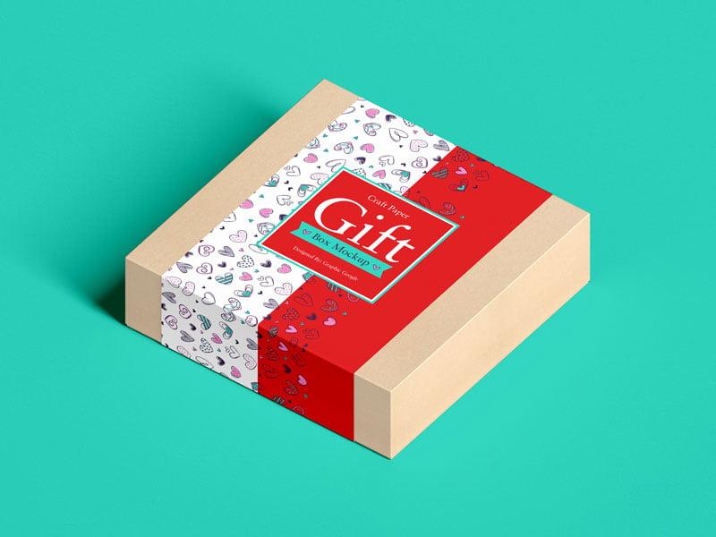 Free Craft Paper Gift Box Mockup