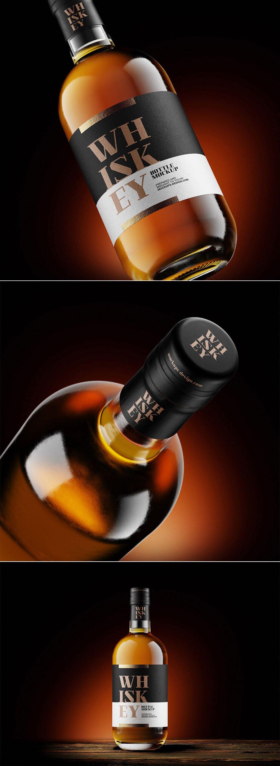 Free Whisky Bottle Mockup