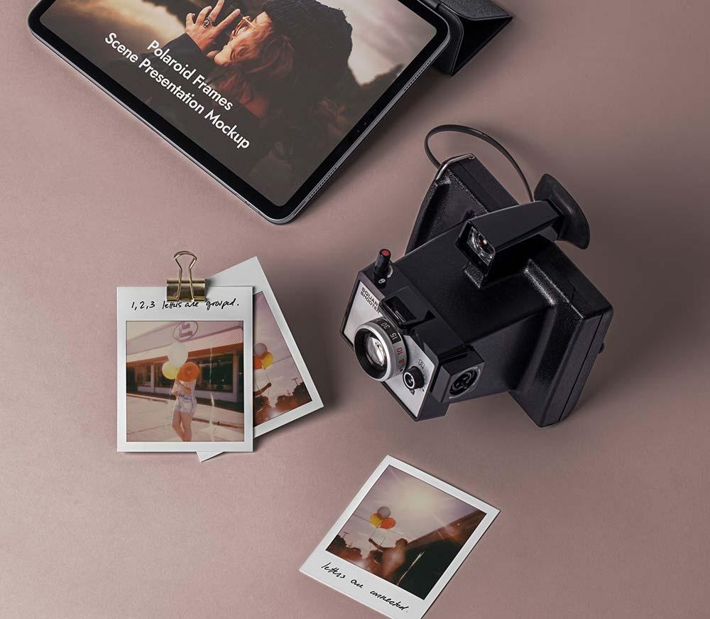 Free Frame Polaroid Mockup