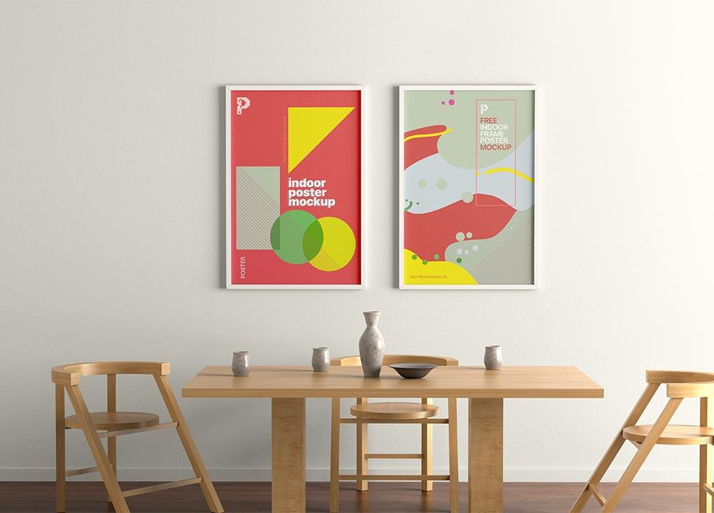 Free Indoor Frame Poster Mockup