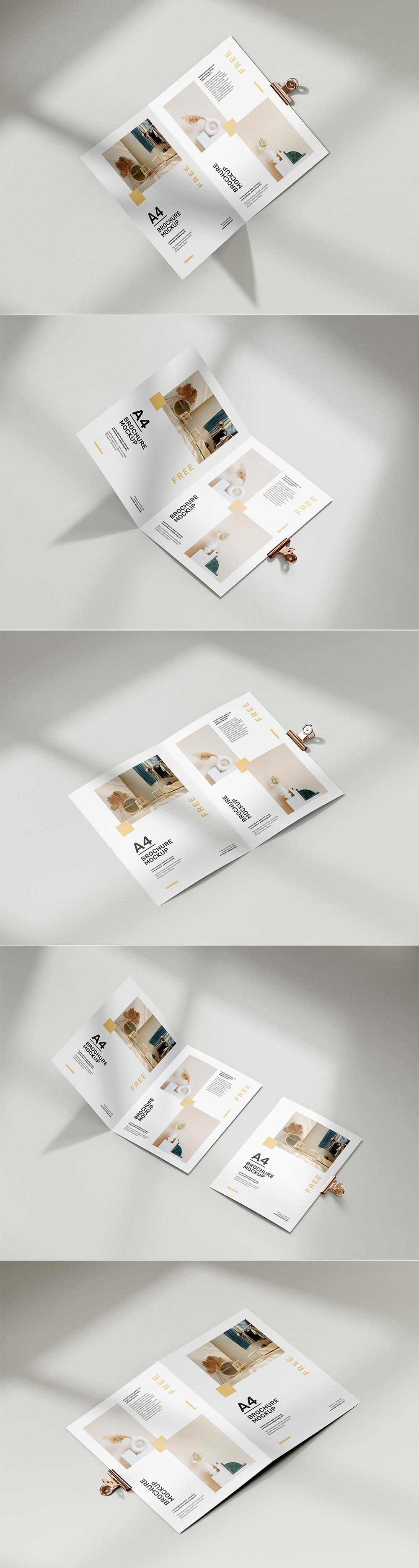 Free Folded A4 Brochure Mockups