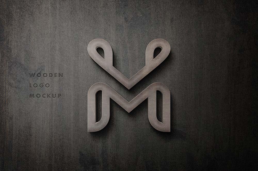 Free 3D Wooden Logo Mockup