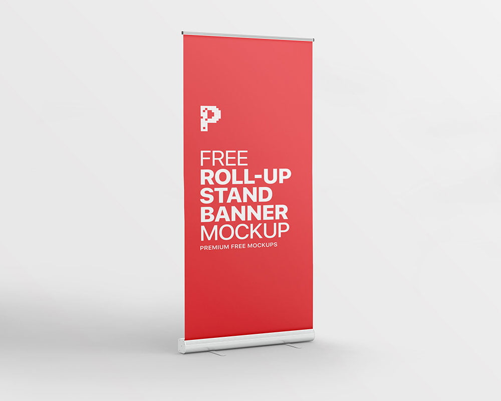 Free Roll-up Stand Banner Mockup