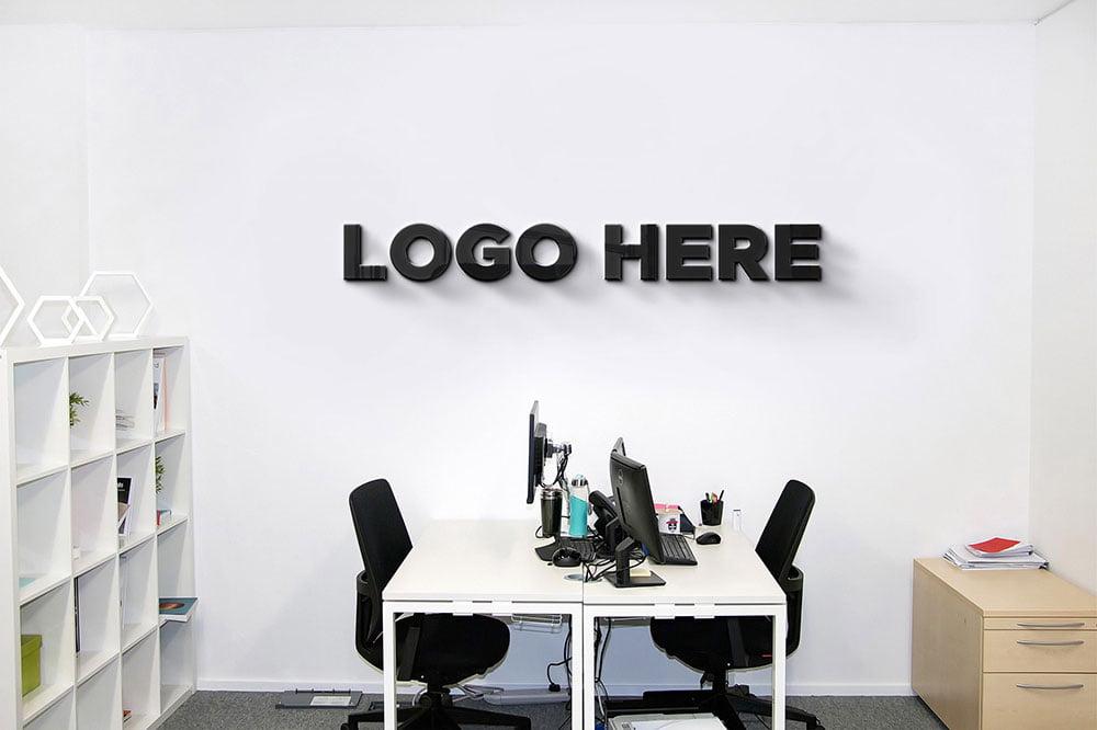 Free Office Wall Logo Mockup