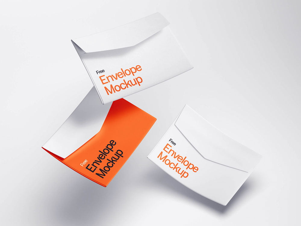 Free Levitating Envelope Mockup