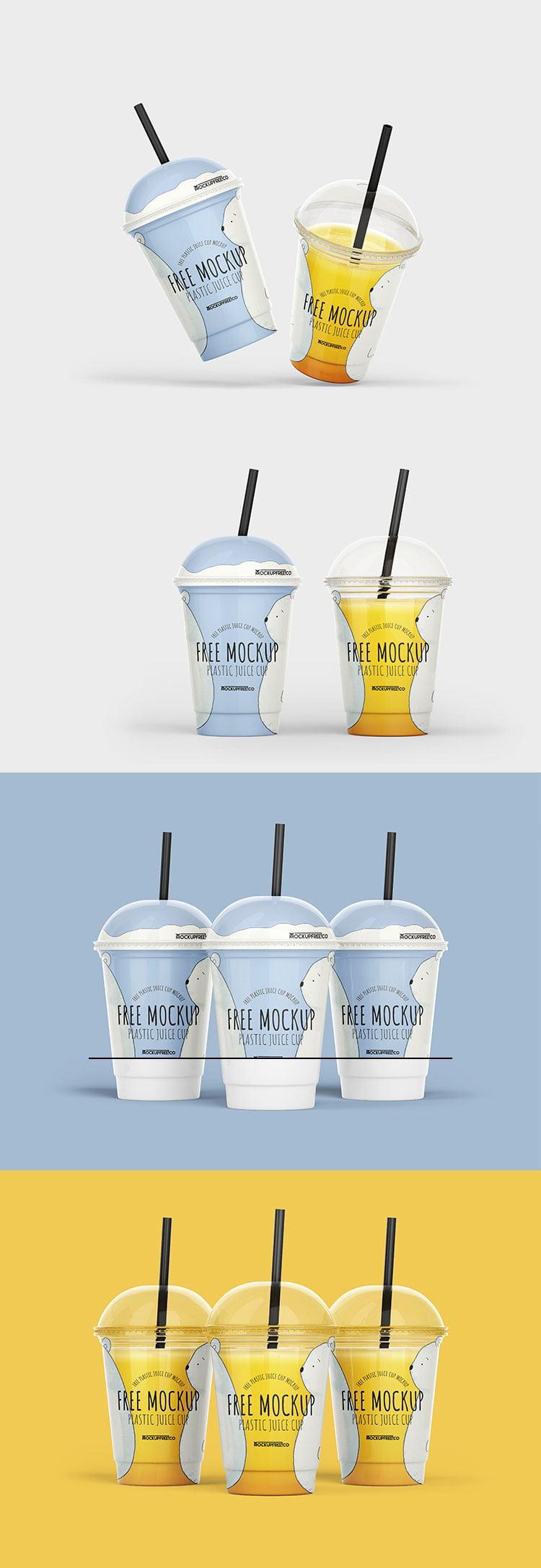 Free Plastic Juice Cup Mockup
