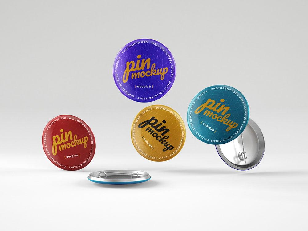 Free Glossy Button Pin Mockup