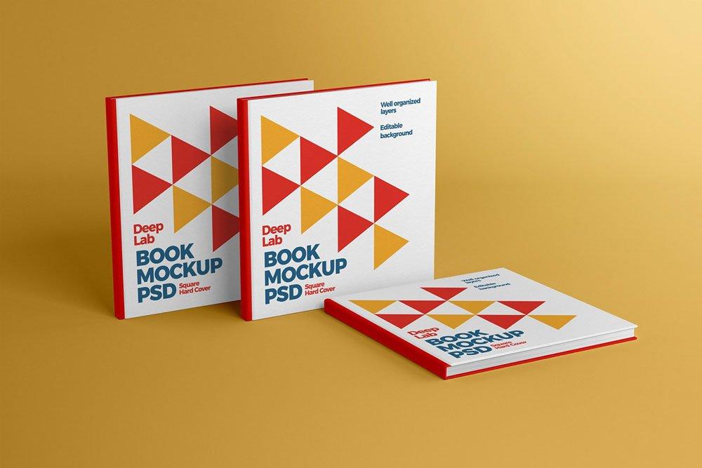Free Square Hardcover Book Mockup