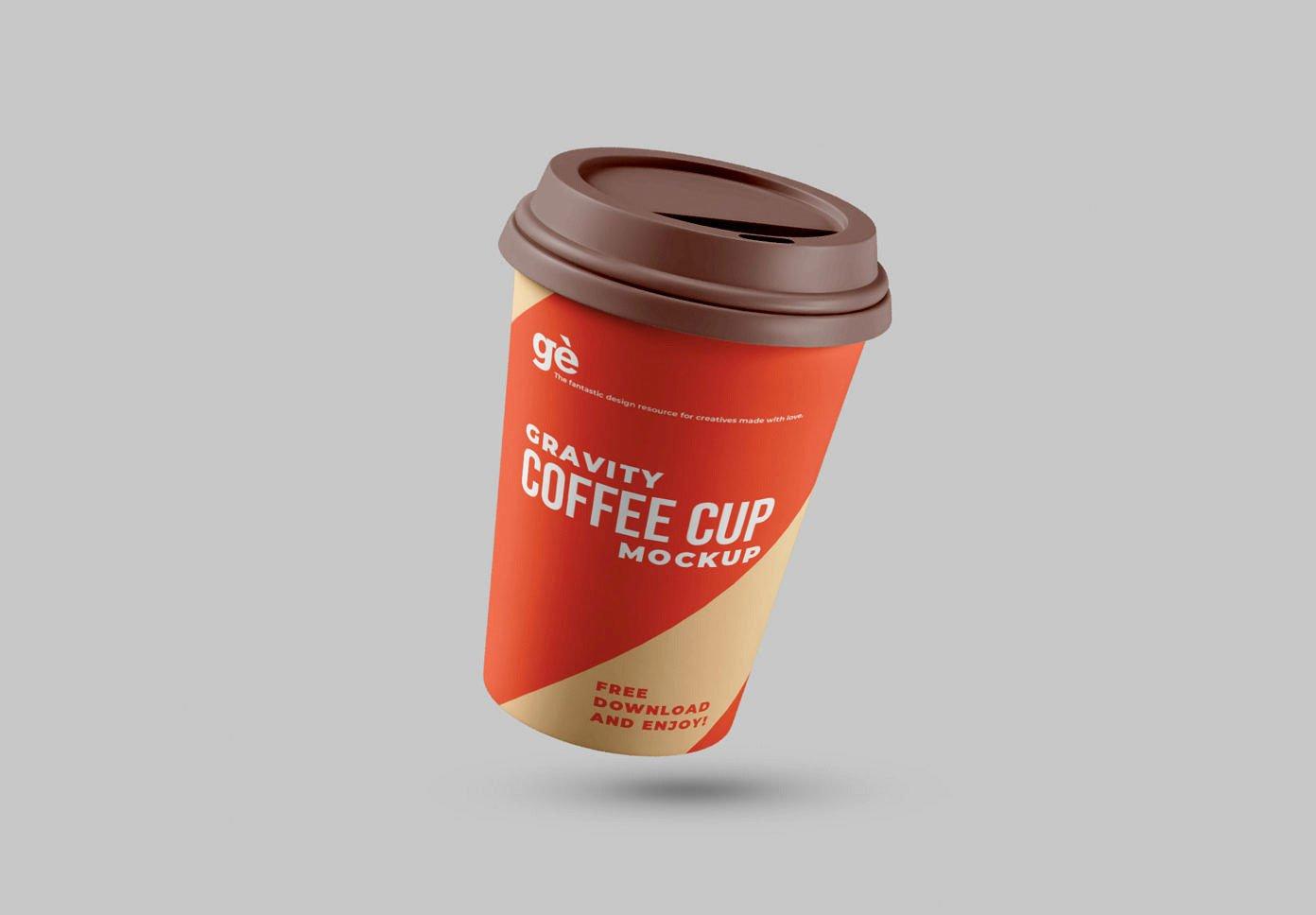 Free Gravity Coffee Cup Mockup