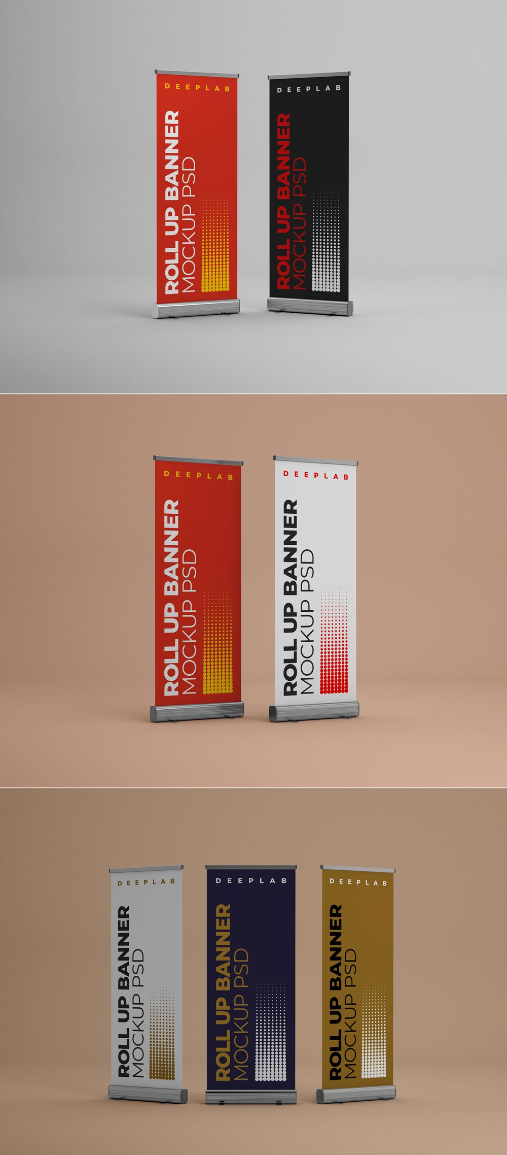Free Roll-Up Banner Mockups PSD