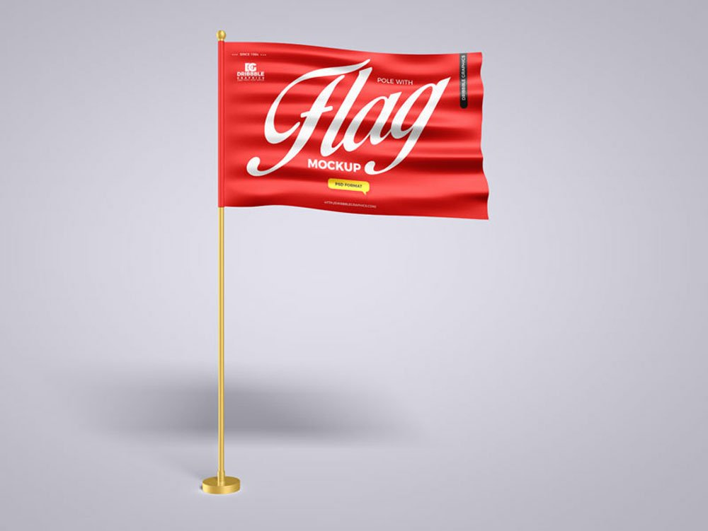 Free Waving Flag Mockup