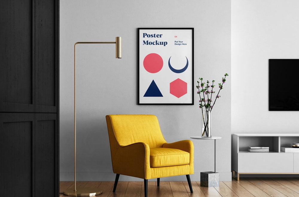 Free Wall Poster Living Room Mockup