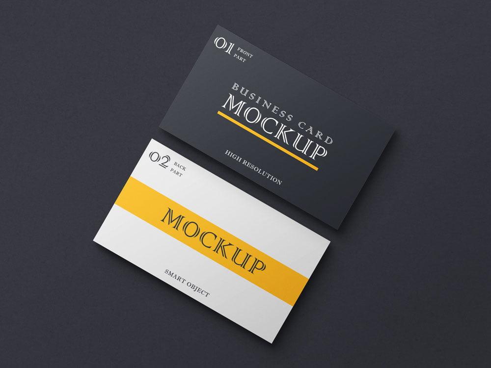 Free Dark Business Card Mockup