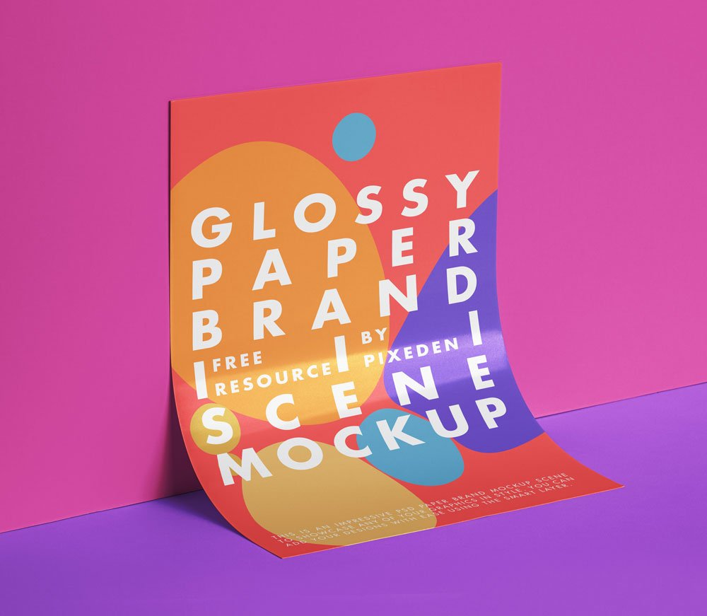 Free Glossy Paper Mockup