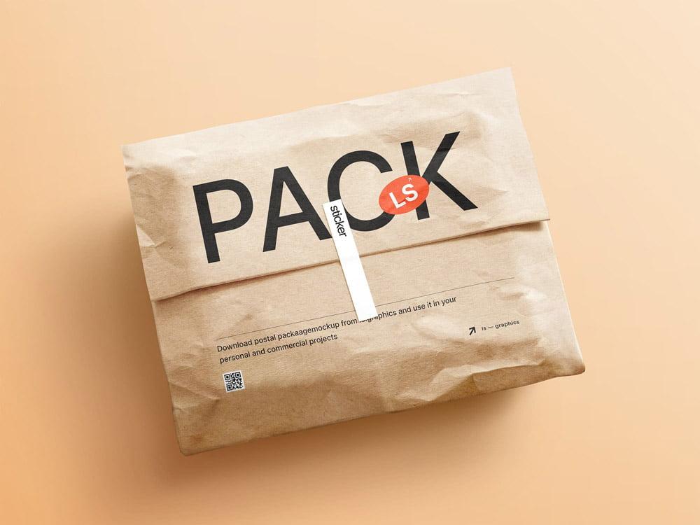 Free Postal Package Mockup