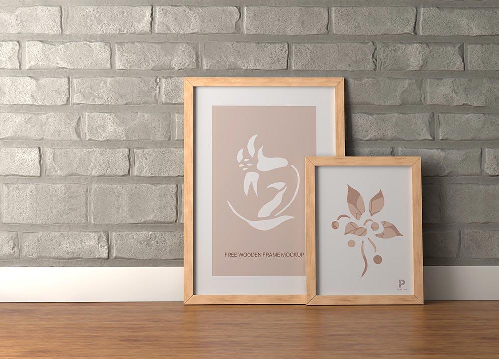 Free Wooden Frames Mockup